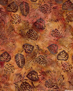 Pinecones & Aspen Leaves Batik - Maple Brown
