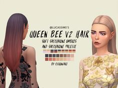 @lucassims 's queen bee v2 hair recoloured I redid my ombres in the new version of the hair which is longer and apparently fixes some shine bugs! also comes in the normal saccharine palette.. enjoy! •...