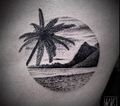 Blackwork Tropical Seascape by Noksi                                                                                                                                                                                 Más