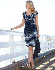 Chloe Dress in Navy White by Pepperberry