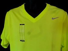 Nike Di Fit Mens Short Sleeve V Neck Shirt Size Large Florescent Athletic Wear in Clothing, Shoes & Accessories, Men's Clothing, Athletic Apparel | eBay