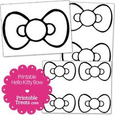 """Get this free printable Hello Kitty bow shape for your HK craft projects and HK party decorations. This Hello Kitty bow cut out has often been used to create a """"pin the bow on Hello Kitty"""" Hello Kitty Baby Shower, Hello Kitty Theme Party, Hello Kitty Bow, Hello Kitty Themes, Diy Hello Kitty Birthday Party Ideas, Hello Kitty Crafts, Birthday Ideas, Bday Girl, 4th Birthday Parties"""