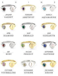 Birthstone Initial Ring Silver or Gold by shopSHINElife on Etsy