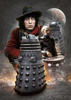 The 4th Doctor with Davros and The Daleks.