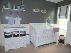Project Nursery - Gray and Navy Nautical Nursery Room View
