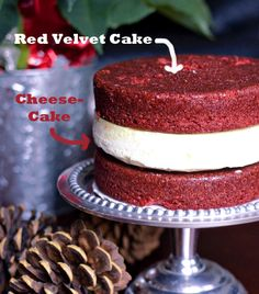 Red Velvet Cheesecake Layer Cake. Holy moly... that's one decadent cake! And that's without the cream cheese frosting (see picture of frosted cake on webpage)!