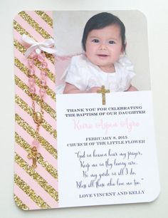 Pink & Gold Baptism Favor Cards by CarolynParraDesigns on Etsy