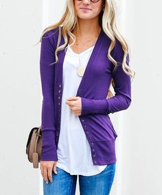 Purple Snap-Button Cardigan | zulily