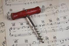 Vintage Red Wooden Handle Corkscrew / Wine Opener by SouthernGilt #vintage #giftidea