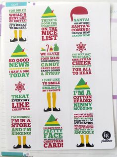 Elf Quote Full Box Planner Stickers for Erin Condren by KGPlanner