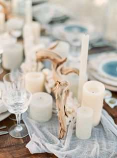 By The Sea Styled Shoot with Elleson Events - Kati Rosado Photography: Fine Art Film Wedding Photography Blog | Elegant Ethereal Beach Wedding in South Florida | Grey Blue Wedding Dress | Blue Suite | Sea Shell Tablescape | Ghost Chairs | White and Green Bouquet