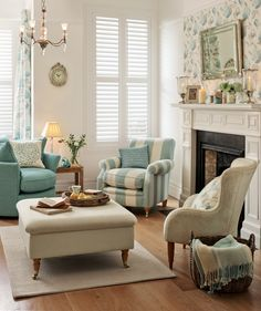 Laura Ashley blue and cream living area <3