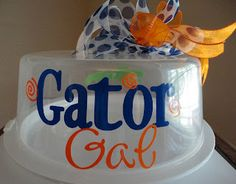 Personalized Cake Carrier - UF Gator Gal - Small Cake Carrier / Treat Carrier - TDY Designs