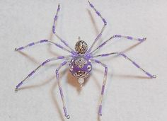 Sophia purple and silver glass beaded spider goth by llanywynns, $16.00