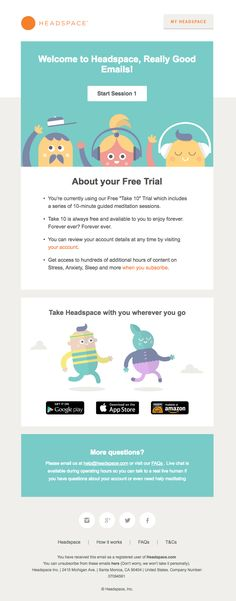 Headspace sent this email with the subject line: Welcome to Headspace - Read about this email and find more welcome emails at ReallyGoodEmails.com #app #onboarding #welcome