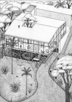 """working on a new riso print> Lina Bo Bardi """"Casa de Vidro"""" Architecture Graphics, Architecture Drawings, Architecture Plan, Contemporary Architecture, Architecture Details, Axonometric Drawing, Isometric Drawing, Pop Culture References, Glass House"""