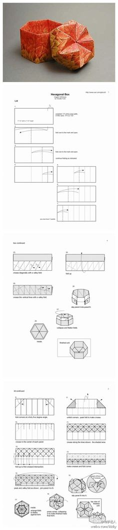Step-by-step instructions on how to fold an Origami Hexagonal Box. Box Origami, Origami Paper Folding, Origami And Kirigami, Paper Crafts Origami, Origami Art, Diy Paper, Oragami, Origami Instructions, Origami Tutorial
