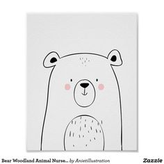 Bear Woodland Animal Nursery Wall art Monochrome ♥ A wonderful addition to your little one's nursery decor. A cute bear in black and white for your monochrome nursery. Woodland theme.
