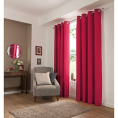 George Home Plain Eyelet Red Curtains | Curtains | ASDA direct