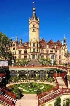 At the grand Schwerin Castle, located Schwerin city, the capital of Mecklenburg-Vorpommern state, Germany.