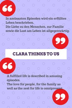 Thankful for a positive comment about Clara Thinks To us, in German.