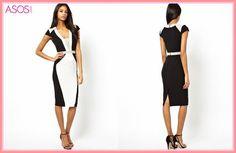 セレブ多数愛用★ASOS☆Structured Pencil Dress In Color Block モダンなモノトーンのカラーブロックデザイン♪ 大流行中のペンシルタイプは、美スタイルを簡単にメイク♪