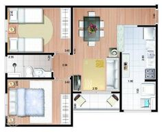 projeto apartamento 50m2 - Pesquisa Google