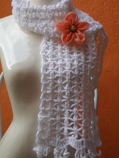 cachecol em croche flor de fuxico www.facebook.com/artesdairis