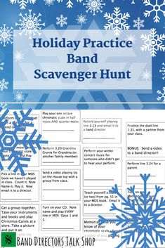 It's that time of the year again -- when winter break approaches and all band directors everywhere are anticipating all of the practicing that WON'T be happening those weeks while your students are away. UNLESS - you use some of these awesome Holiday practice ideas!! Click here to check out these awesome links for winter break scavenger hunts, fun winter break activities, and more. They'll have fun completing them with friends and family, AND be practicing while doing it…