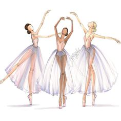 """""""The ballerina sketches are now on Etsy- as a trio or each individually. hnillustration.etsy.com #fashionsketch #fashionillustrator #ballet #ballerina…"""""""