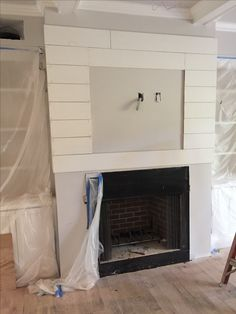 Ship lap covered fireplace designed for Dunwoody Ga couple by Cowboy Jeff