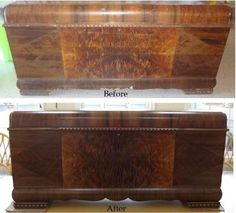 Refinished furniture - Before and after photo of Lane 1943 Cedar Chest. Forever New Refinishing, Ocean County NJ