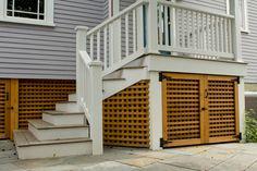 Rear porch with cedar lattice storage gates traditional staircase Patio Under Decks, Decks And Porches, Home Porch, Diy Porch, Outdoor Deck Decorating, Outdoor Decor, Under Deck Storage, Deck Skirting, Patio Plans