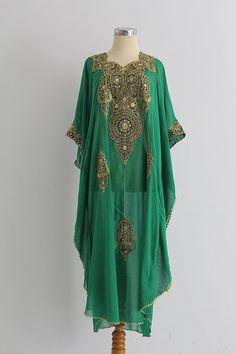 Moroccan Green Caftan Style Chiffon FULL Gold Embroidery Abaya Dubai Maxi Dress Jalabiya for women I NEED THIS