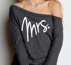 MRS. Off Shoulder Shirt / Bride Sweatshirt / by BridalBlissCouture, $26.00