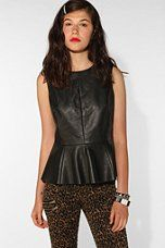 """Saw an article in Allure showing off different ways of wearing a leather top. The one they showed from Banana Republic (which I can't find on their site) is ~$300. This """"vegan leather"""" one from Urban Outfitters is much cheaper at $89, and has a nice peplum waist.  Urban Outfitters - CÖ Vegan Leather Peplum Tank"""