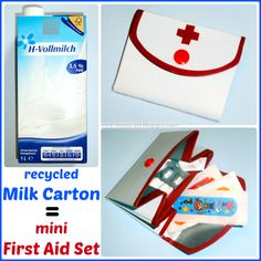 Recycled Milk Carton = Mini First Aid Set ~ tutorial Camping Crafts, Fun Crafts, Diy And Crafts, Crafts For Kids, Mini Emergency Kit, In Case Of Emergency, Tetra Pak, Diy Recycling, Mini One