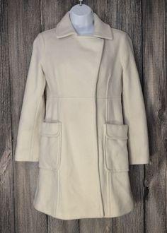 Women's Size XS Petite Eddie Bauer Wool Coat in Ivory Cream XSP #EddieBauer #Peacoat