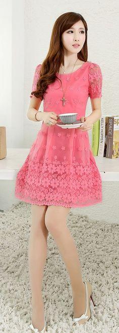 Cute Mini Lace Dress Short Sleeve YRB0049