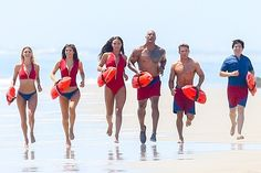 This is the insanely good-looking cast of the new Baywatch movie. Here they are running, probably for some slo-mo shot of their hot bods.