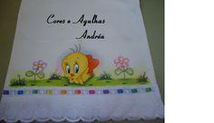 Cores e Agulhas: Mais... toalhinhas pintadas!!!