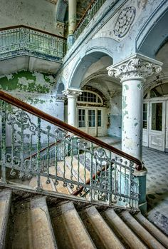 This is probably the most famous of the beautiful staircases of the abandoned Beelitz Heilstätten, located in Beelitz, Brandenburg, Germany. Built in 1898, it has been abandoned since 2000.