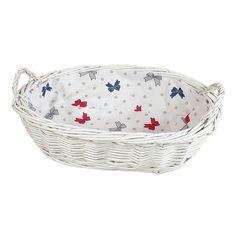 """Wiklinowy koszyk """"PAIN"""" kol. biały wyściełany materiałem - wzór kokardki na białym tle"""