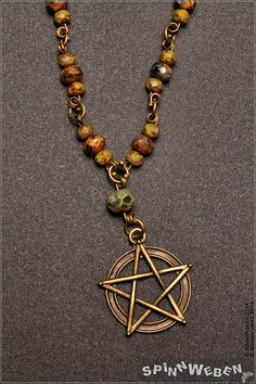 Pentacle Necklace czech glass charm chain pentacle by SpinnWeben, €21.00