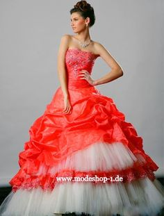 Quinceanera Mode Ballkleid Brautkleid Mailand Weiss Orange  www.modeshop-1.de