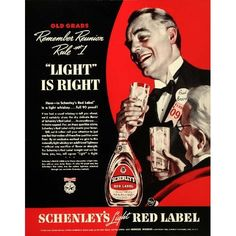 Light Red Label Whiskey Alcohol - Original Print Ad: Home