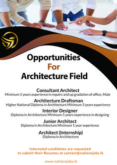 Opportunities for architecture field Submit your resumes at contact Visit us www.