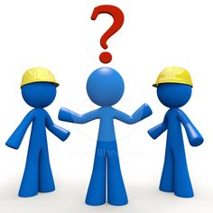 Question Mark: Which Builder? Hard Hat and Construction Blue Man 3d Stock Image