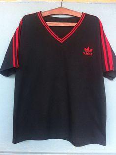 b7663eff Mega Sale Vintage 80s Adidas Embroidered Logo T-shirt 3 Stripes Black and  Red colors Hip Hop Swag Rapper Style