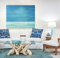 Casual elegance featuring watery blues and sandy neutrals. Beach House Furniture, Living Room Decor Furniture, Home Furniture, Driftwood Furniture, Coastal Furniture, Coastal Living Rooms, Home Living Room, Furniture Slipcovers, Coastal Style
